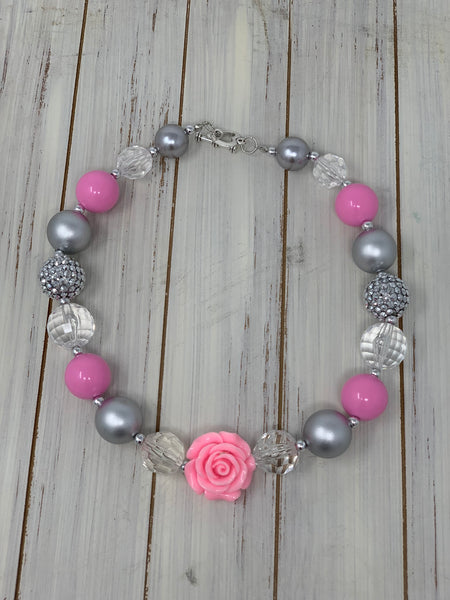 Pink silver and white rose Necklace