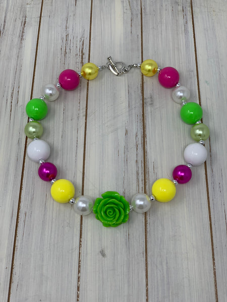 Pink white and yellow with lime rose Necklace