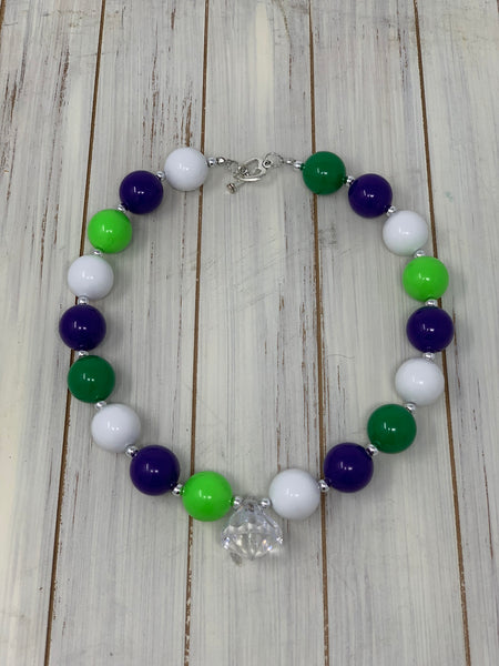 Purple, lime and white Necklace
