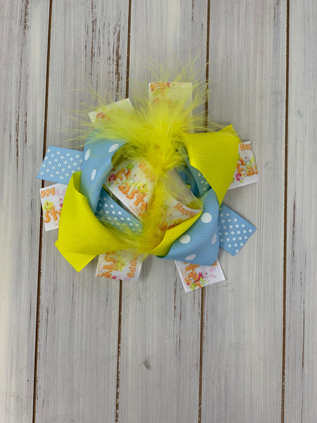 Yellow and blue chick Bow