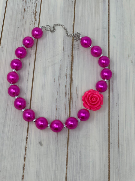 Hot pink rose Necklace