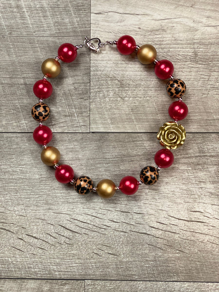 Red & Gold Cheetah Rose Necklace