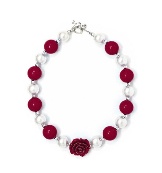 Maroon and pearl Necklace