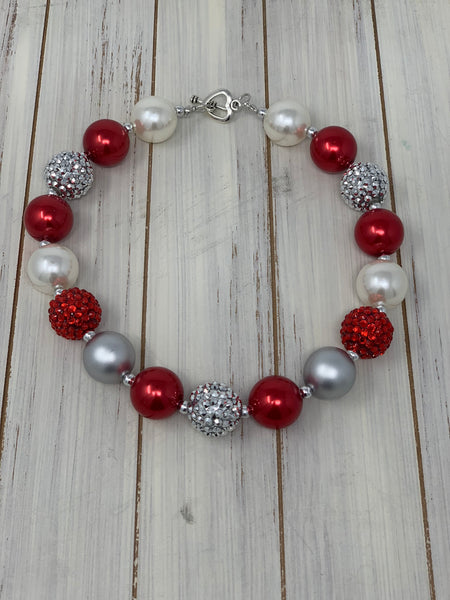 Red and beige rhinestone Necklace