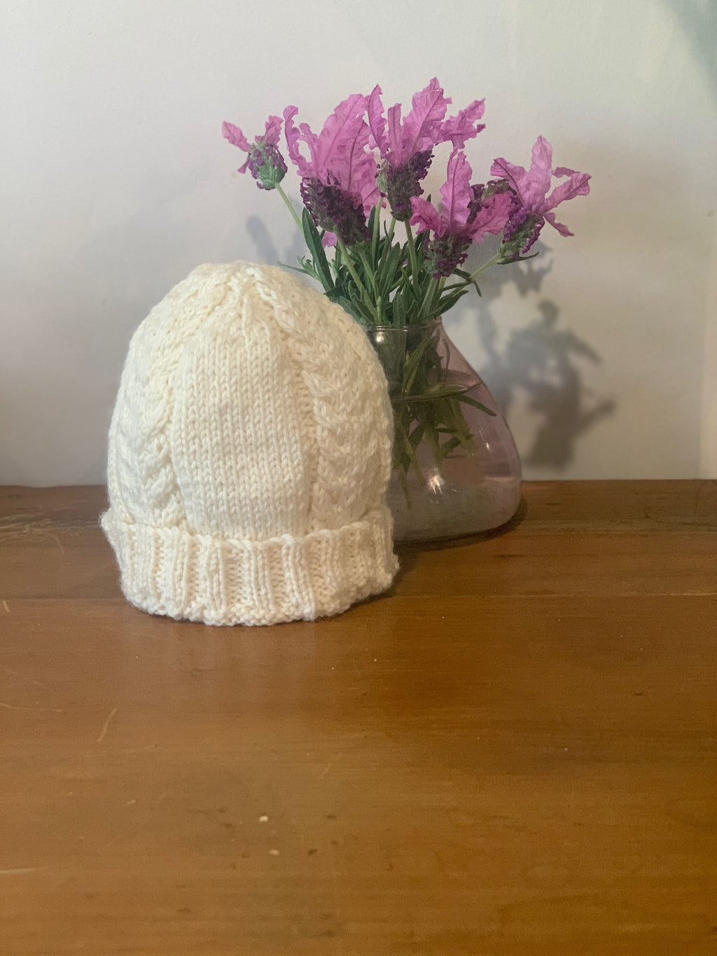 Hand Knitted Cable Baby Beanie
