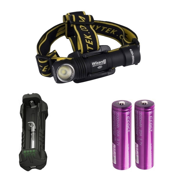 KIT ULTRA TRAIL Lampe Frontale Armytek Wizard Magnet USB XP-L - 1120/1250 Lumens | Nyctalope