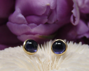 Iolite Cabochon Cut Bezel Studs Earrings