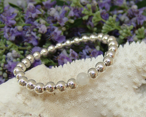 Moonstone & Sterling Silver Ball Bracelet