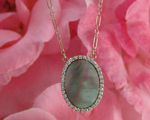 Oval Silver/Black Tone Mother of Pearl