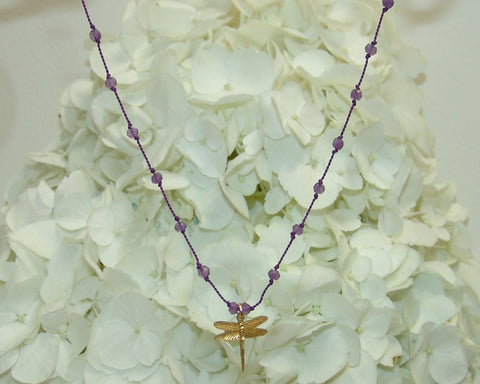 Amethyst Stone & Silk Necklace