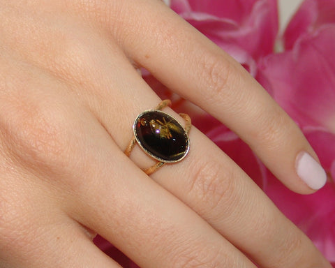 Black Onyx/Rutilated Quartz Ring