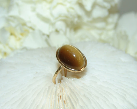 Tigers Eye Stone Gold Ring