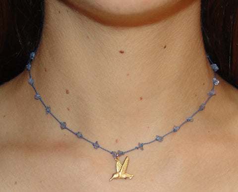 Iolite Stone and Silk Necklace