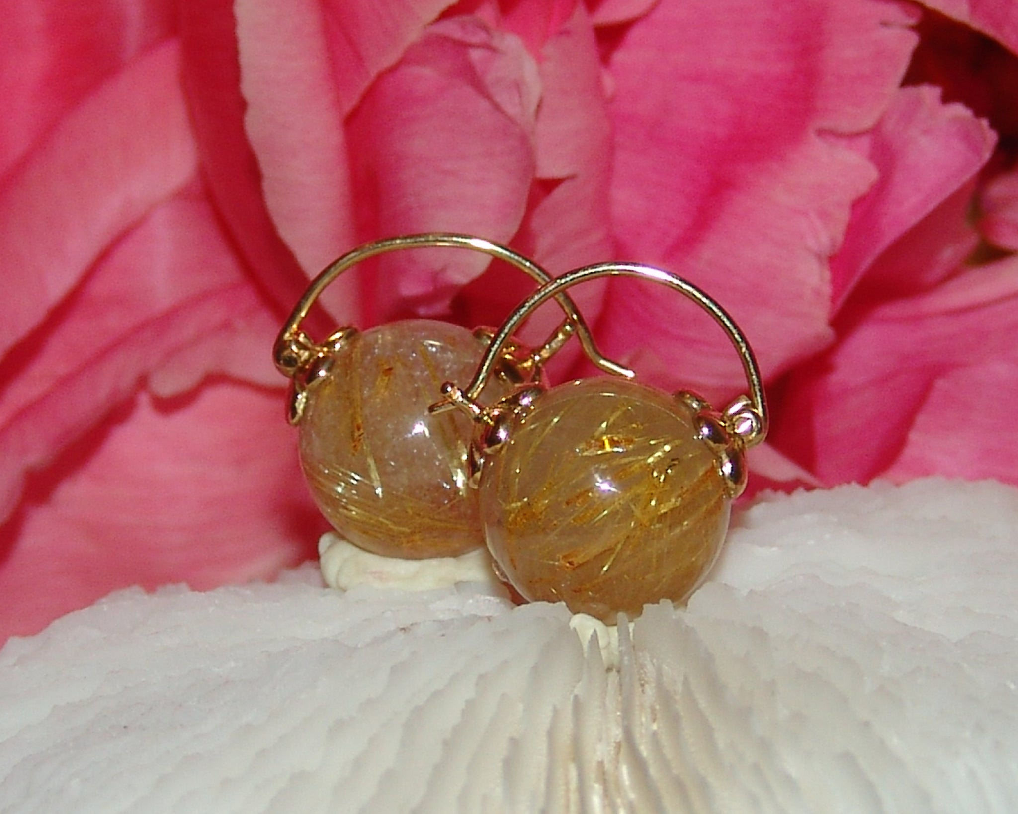 Golden Rutilated Quartz Earring