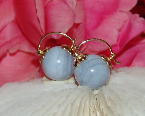 Blue Lace Agate Stone Earring