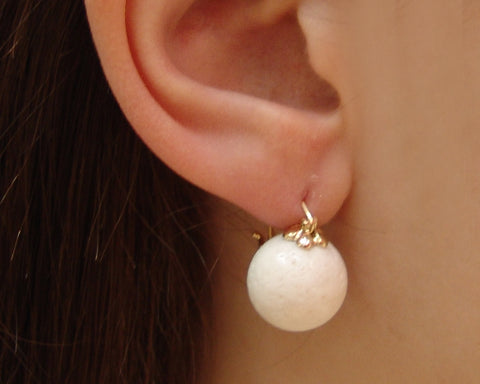 Cream Coral Stone Earring