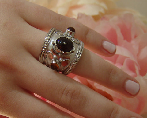 Garnet and Tourmaline Ring