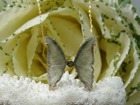 Butterfly Necklace (Clear/Grey)