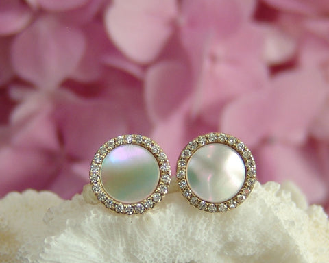 Studs 8 mm White Mother of Pearl disc Set 14 ct. Yellow Gold Surrounded by White Diamonds (48 Stones) 14 mm with setting Total Setting 12.5 mm