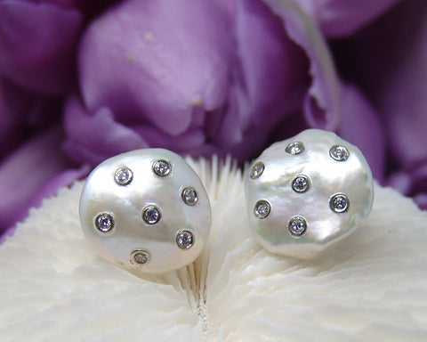 Freshwater Coin Pearl Earring