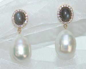 Grayish Dark Moonstone Studs