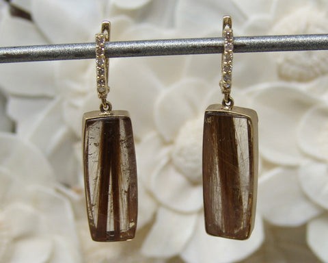 Golden Feather Quartz Earring