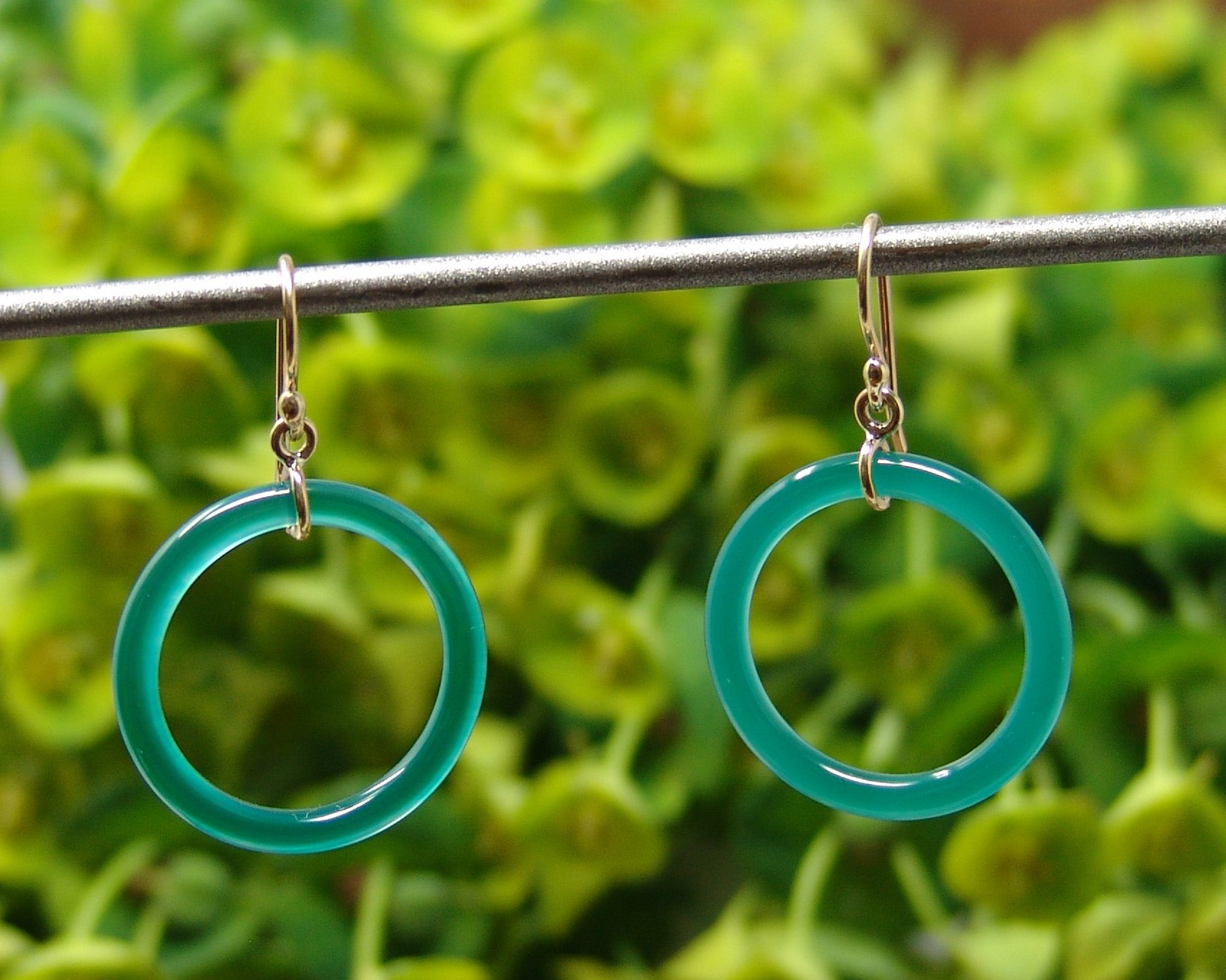 Green Agate Ring Earrings