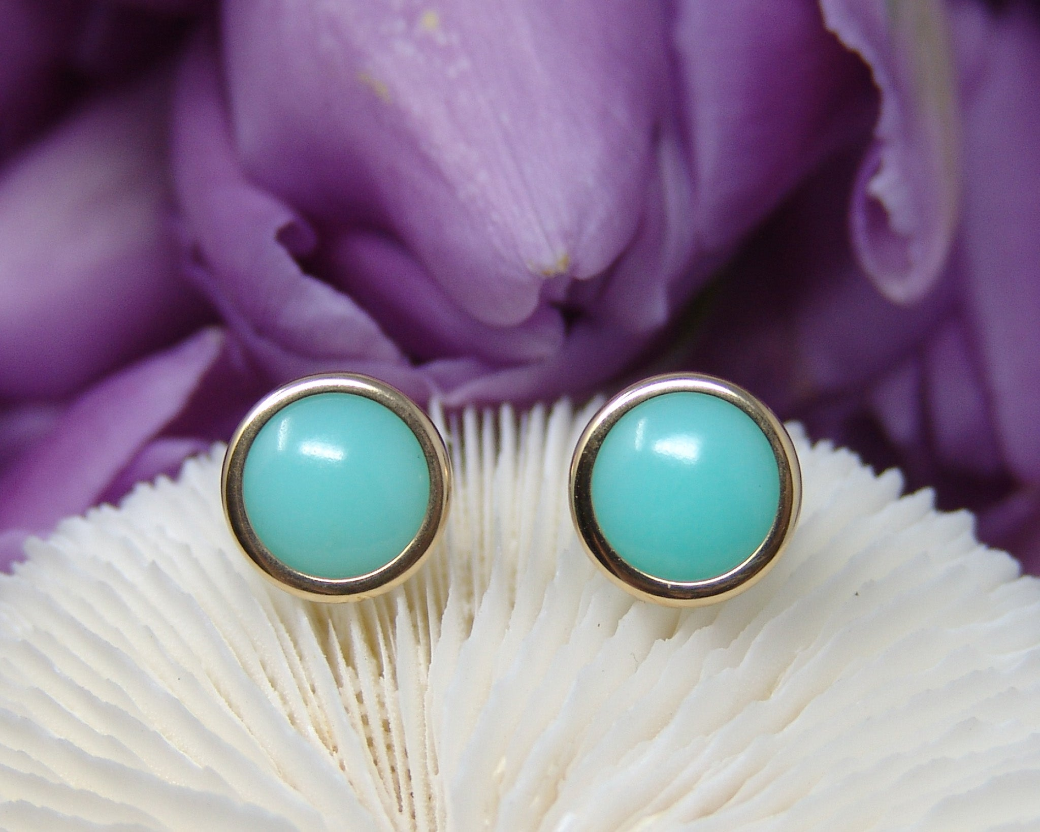 Chalcedony Studs (Lime Green) Cabochon Earrings
