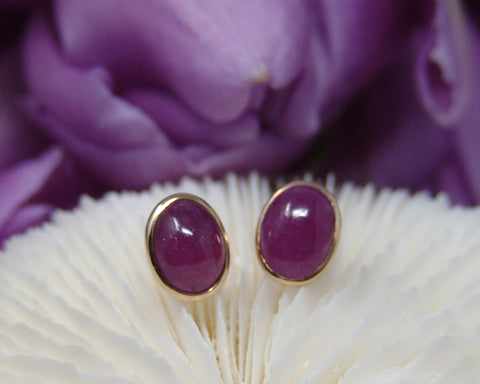 Ruby Cabs Oval Studs Earrings