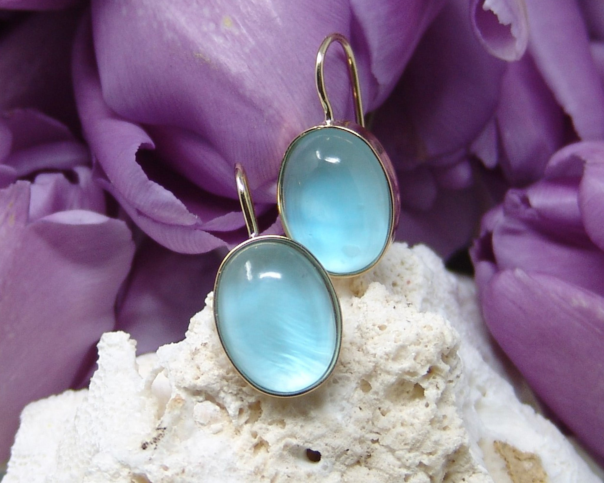 Blue Topaz/Quartz/Mother of Pearl Earrings