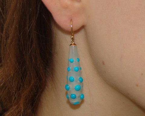 Turquoise Agate Droplet Earrings