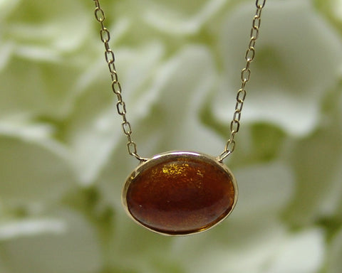Oval Golden Coral Necklace
