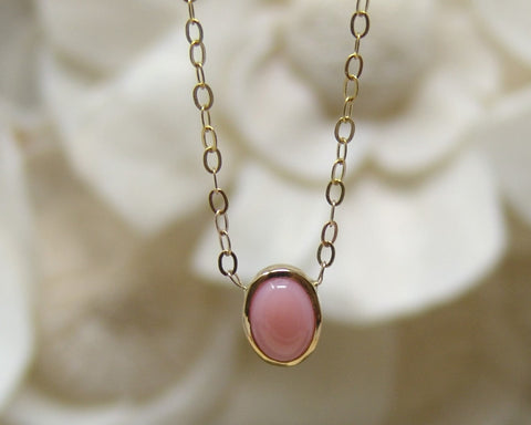 Tiny Pink Coral Necklace