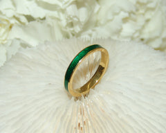 Green Enamel Stone Ring
