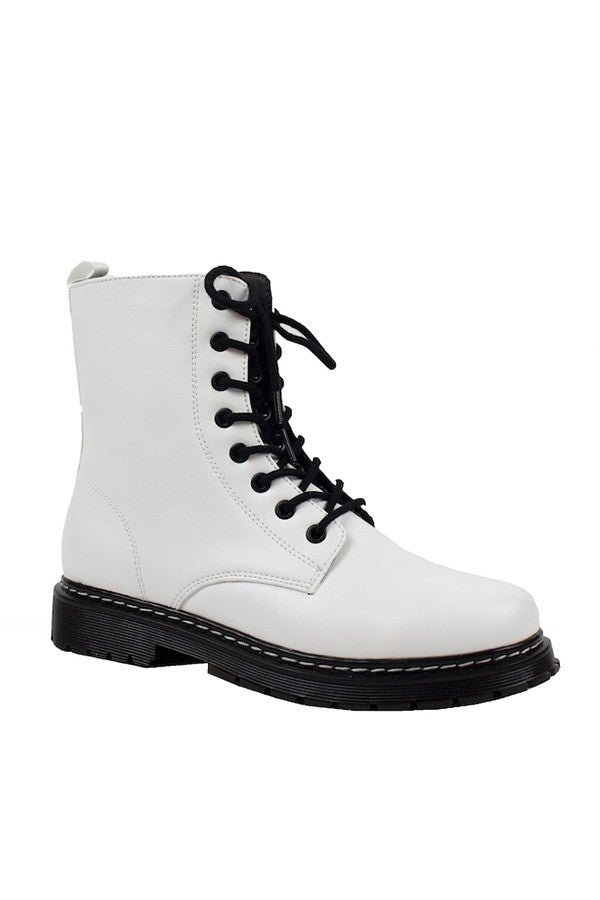 White Lace Up High Top Boots