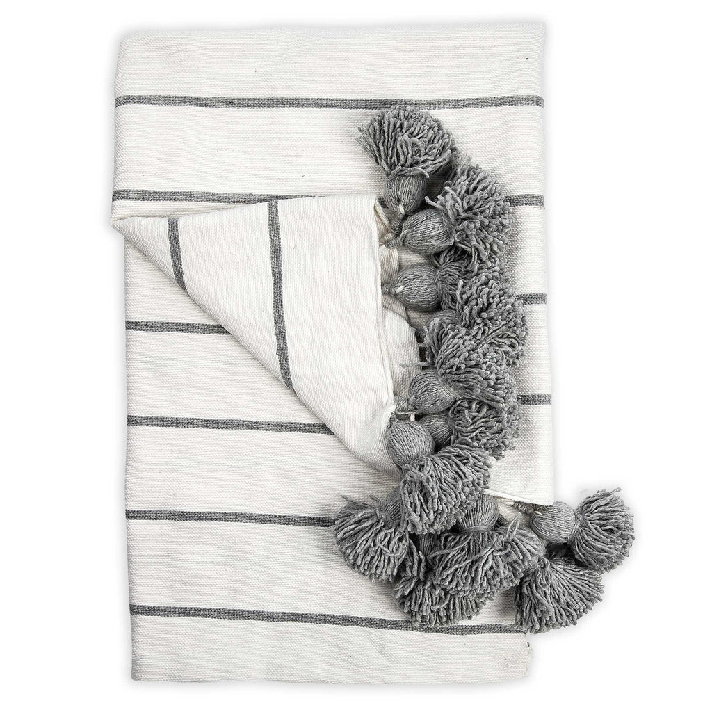 Moroccan Pom Blanket- Classic Grey