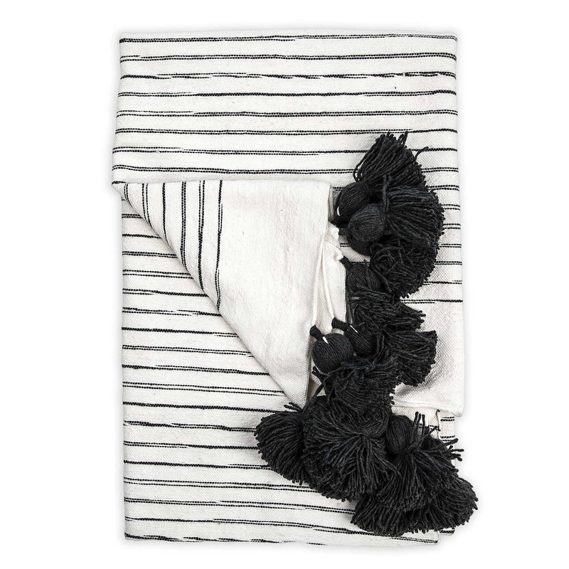 Moroccan Pom Blanket- Sketched Charcoal