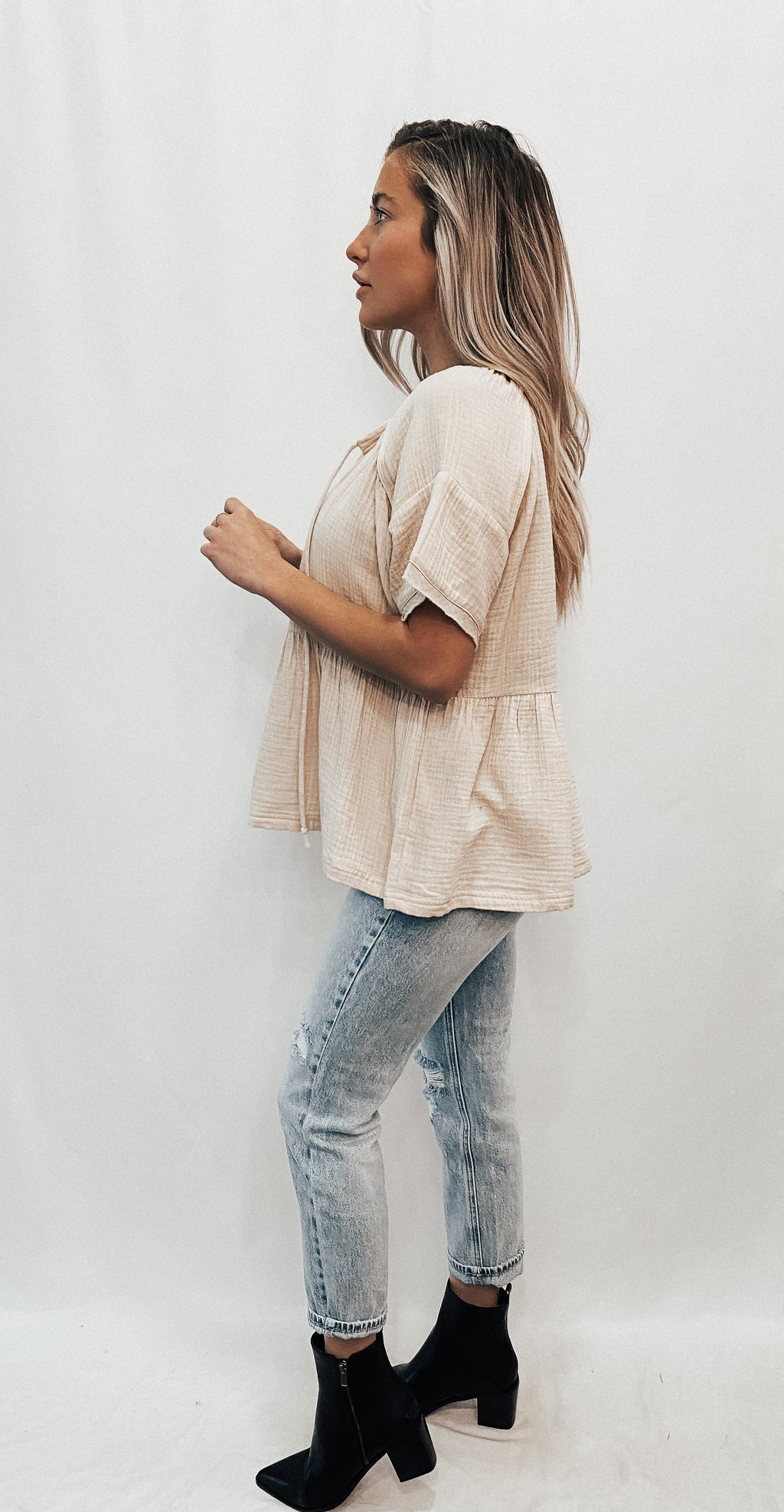 Crinkle Cotton Cream Blouse