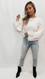 White Tie Sleeve Blouse