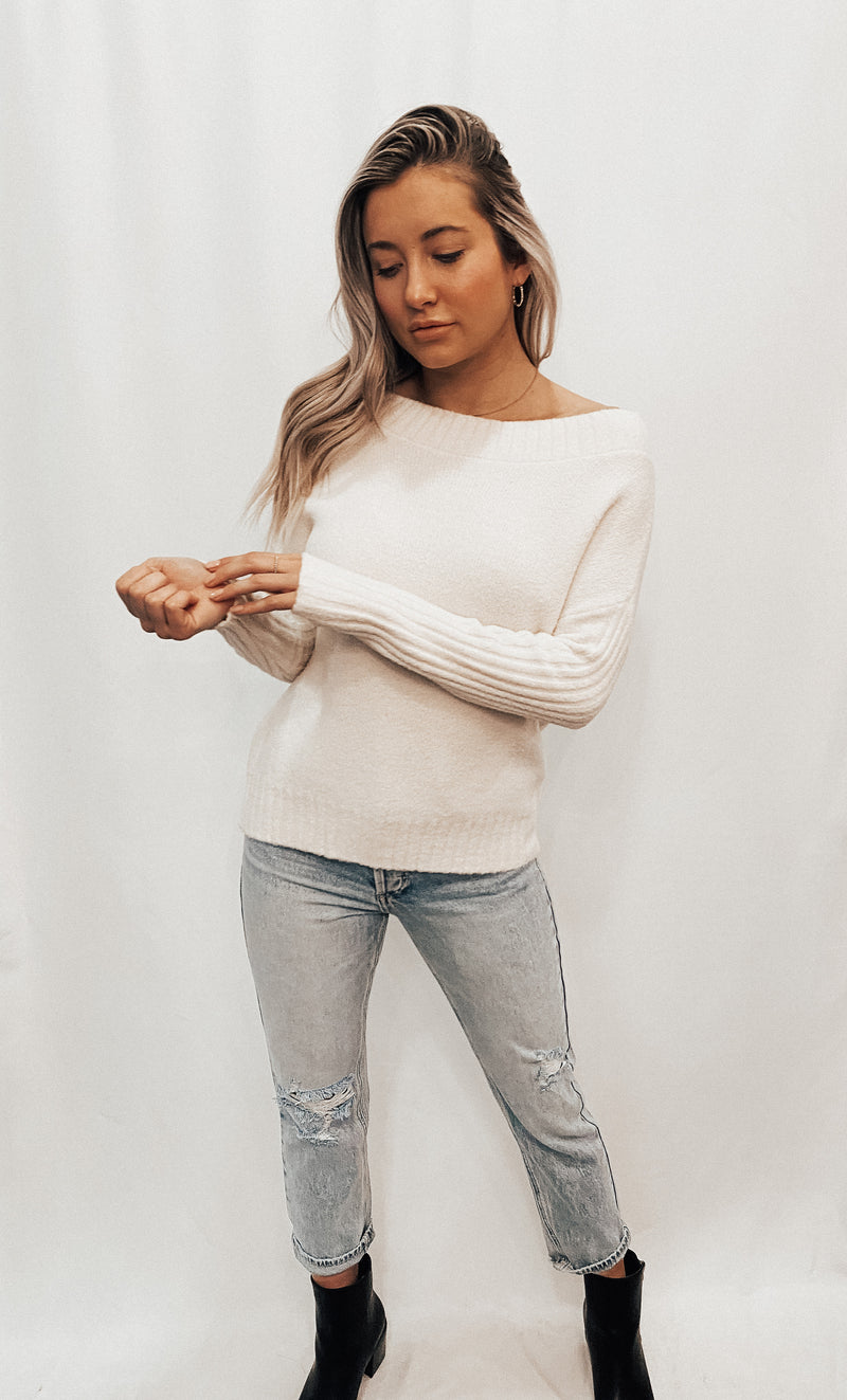 Cream Off The Shoulder Cozy Knit