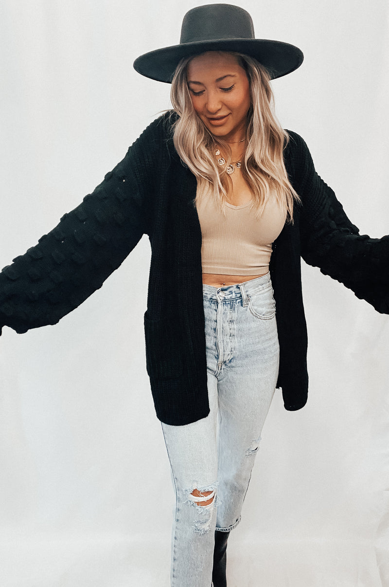 Black Bubble Sleeve Cardigan
