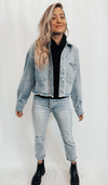 Raw Hem Cropped Denim Jacket