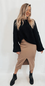 Taupe Ribbed Skirt