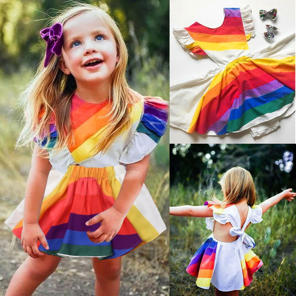 7f5e5f43a7164 2019 Summer Girls Rainbow Backless Dress. Hover to zoom