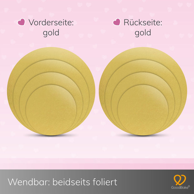 Cakeboard 4er-Set Gold (20cm, 25cm, 30cm, 35cm)