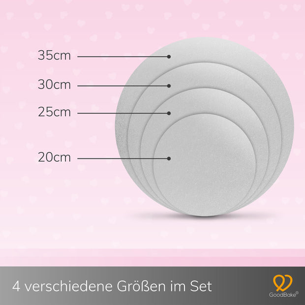 "Cakeboard 4er-Set Silber/Gold ""2-in-1"" (20cm, 25cm, 30cm, 35cm)"