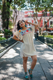Vestido Manuela Crudo con Bordado a Colores-Dress-Le Catrina