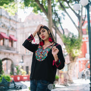 Mexican Blouse, Black with Peacock Colorful Embroidery, Boho, Long Sleeve Pavo-Blouse-Le Catrina