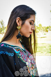 Mexican Blouse, Black with Peacock Colorful Embroidery, Boho, Long Sleeve, S, M, L, XL, XXL Blouse Pavo - Le Catrina
