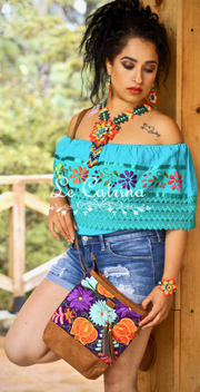Crossbody Purse Ethnic Mexican Embroidery M2 - Le Catrina